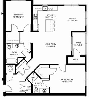 2 Bedroom 2 Bath exterior units