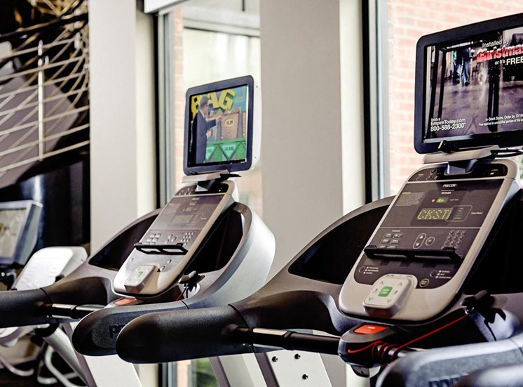 Treadmills with personal screens at Riverwood, 3270 Walton Riverwood Ln. SE Atlanta, Georiga