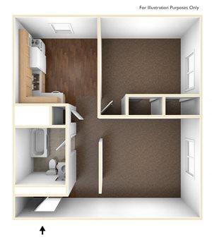 One Bedroom Apartment Floor Plan Pine Grove Apartments