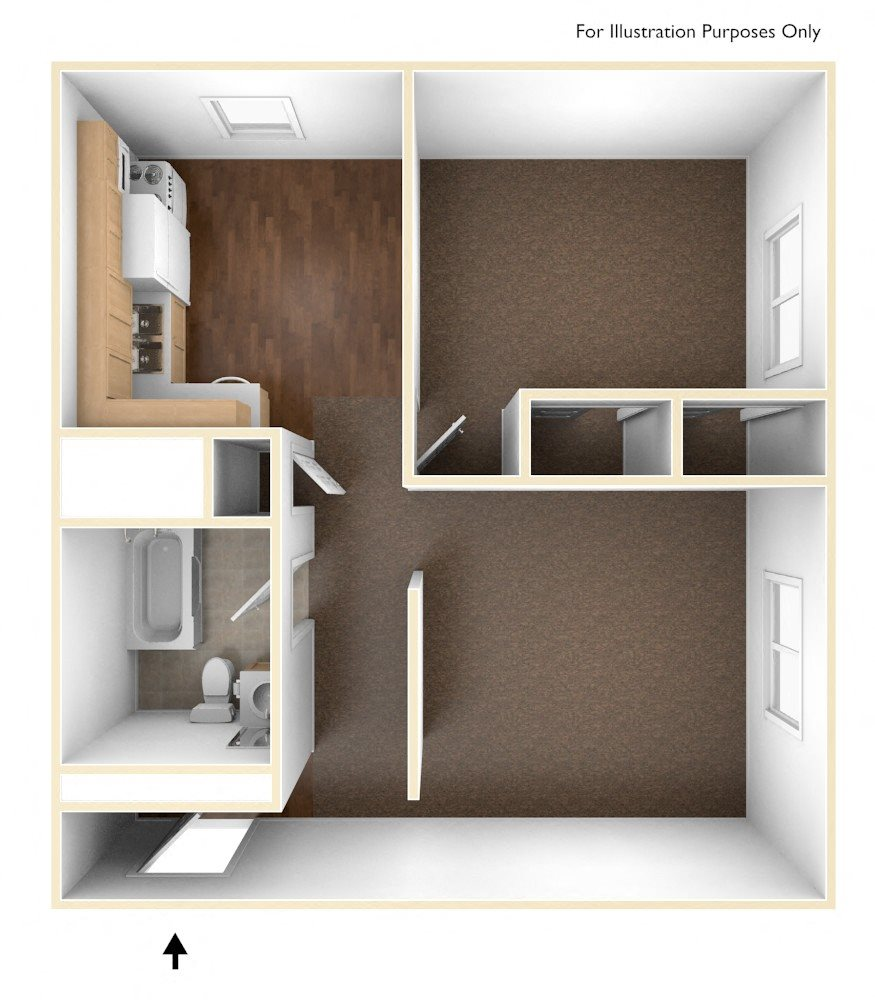 One Bedroom Apartment Floor Plan Pine Grove Apartments