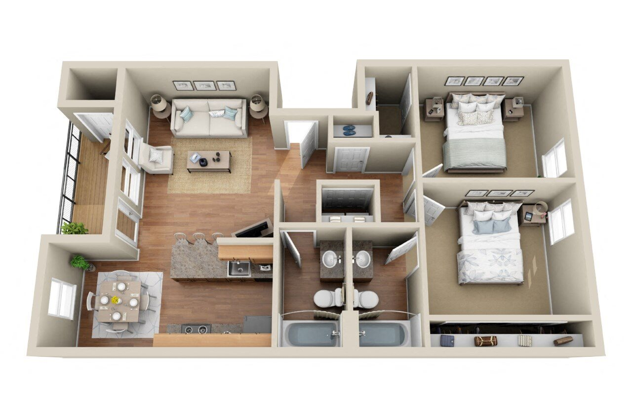 2 Bedroom  2 Bathroom Floor Plan 3