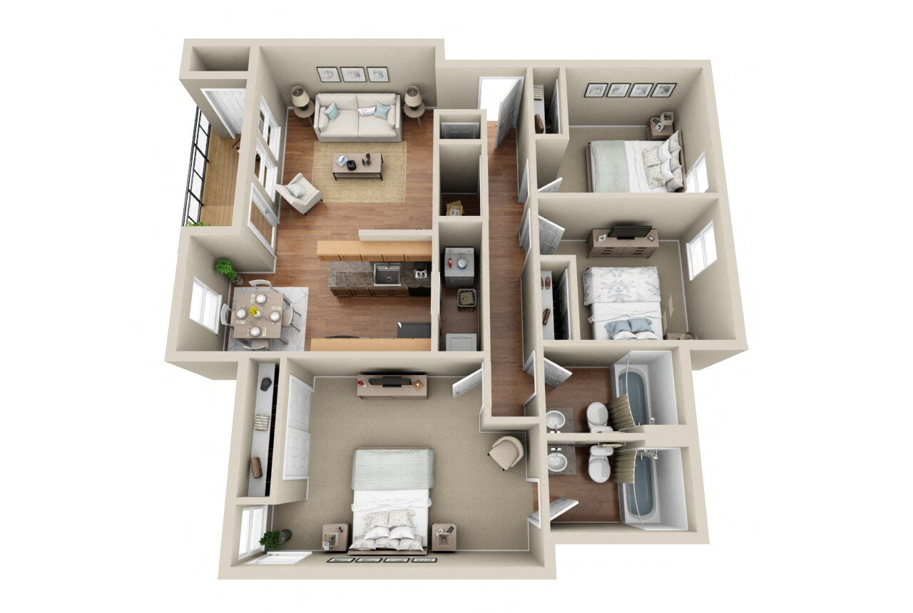 3 Bedroom  2 Bathroom Floor Plan 4