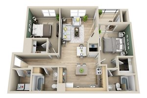 2x2 1051-1079 sq. ft. The Greystone