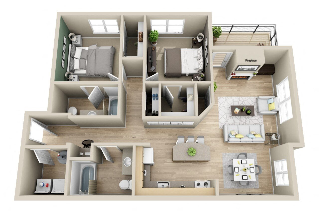 One Amp Two Bedroom Apartments In Fairview Or Floor Plan