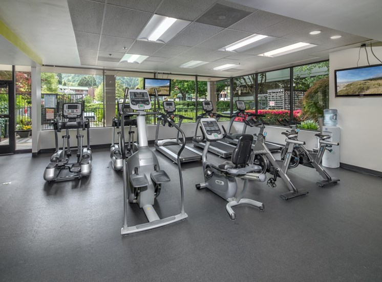 Downtown Portland Apartments - linc301 Fitness Center with Ample Cardio Equipment and TVs