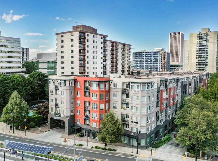 Pet Friendly Apartments in Downtown Portland, OR - Exterior View of linc301 Apartment Building Surrounded by Trees