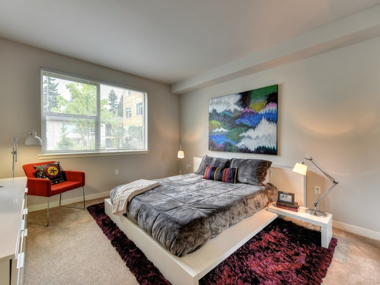 Luxury Apartment Community Bedroom with Large Window