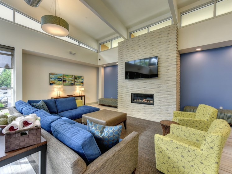 Luxury Apartment Community Clubhouse Lounge with Fireplace
