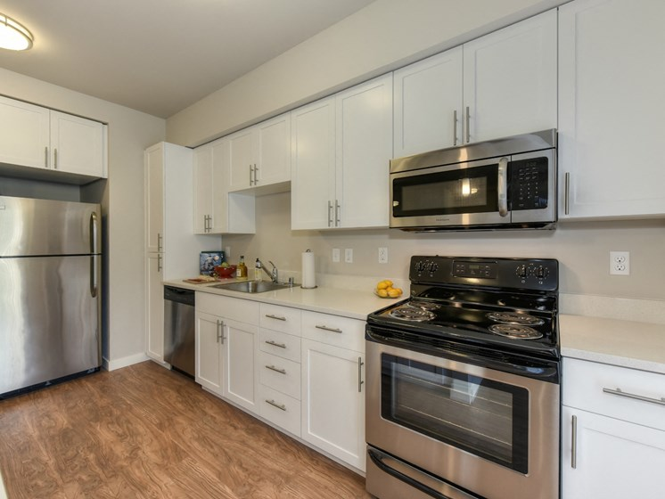 Luxury Apartment Community Kitchen with Wood Inspired Floors and Stainless Steel Appliances