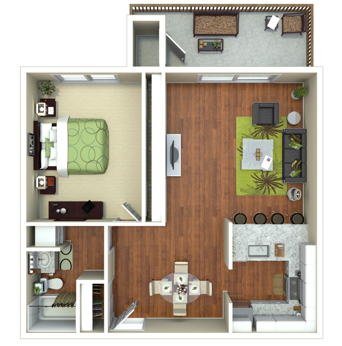 1 Bed 1 Bath (B) Floor Plan 2