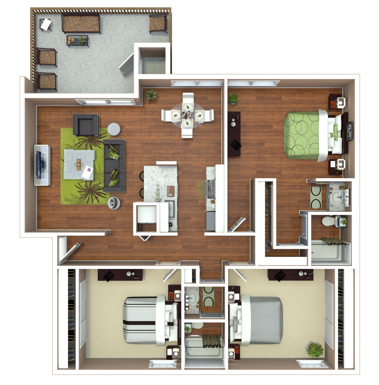 3 Bed 2 Bath (A) Floor Plan 9