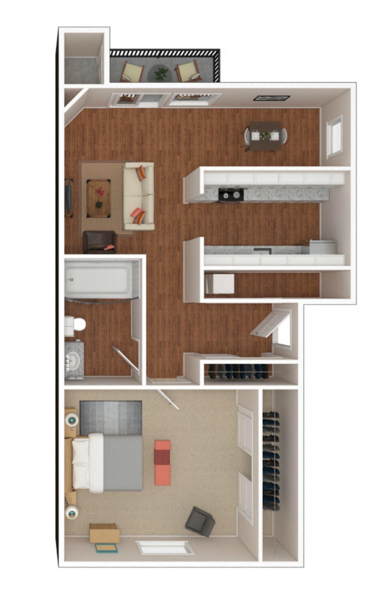 1 Bed 1 Bath (B) Floor Plan 1