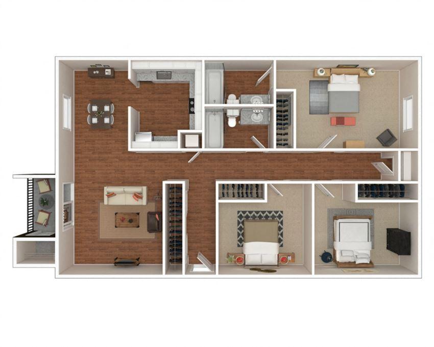 3 Bedroom, 2 Bathroom Floor Plan