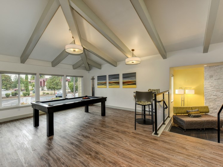 Luxury Apartment Community Clubhouse Lounge with Billiards