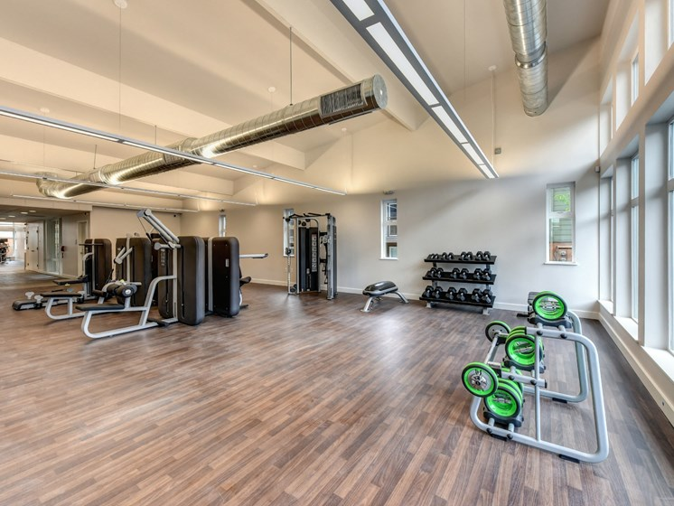 Luxury Apartment Community Fitness Center Free Weights and Weight Machines