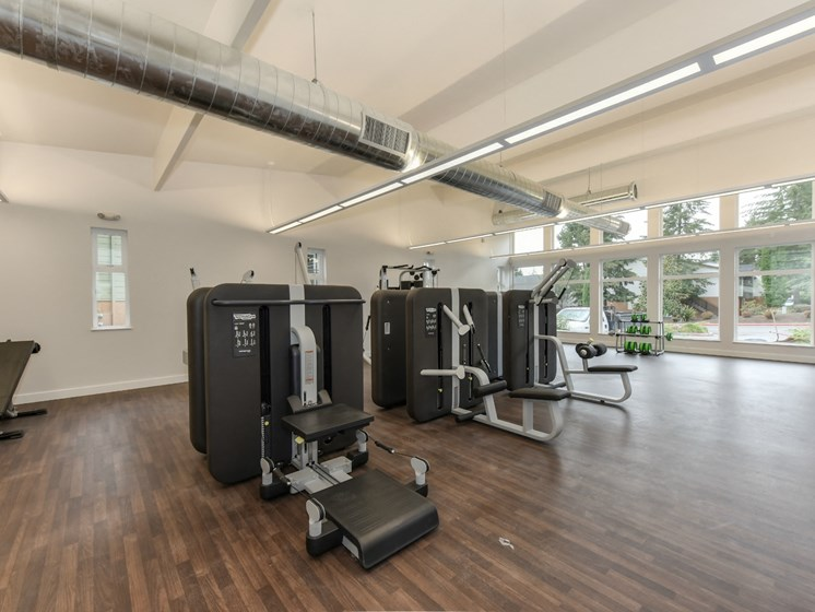 Luxury Apartment Community Fitness Center with Weight Machines