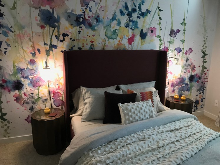 Bedroom with Abstract, Water Color Flower Mural, Full Mattress, Brown Bedframe and Carpet