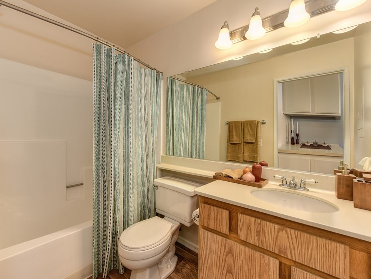 Luxury Apartment Community Bathroom with Wood Cabinets and Extended Vanity