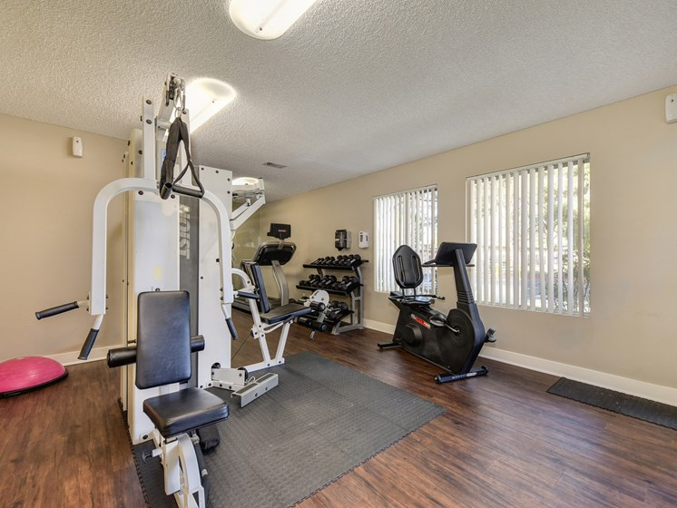 Luxury Apartment Community Fitness Center with Free Weights and Cardio Machines