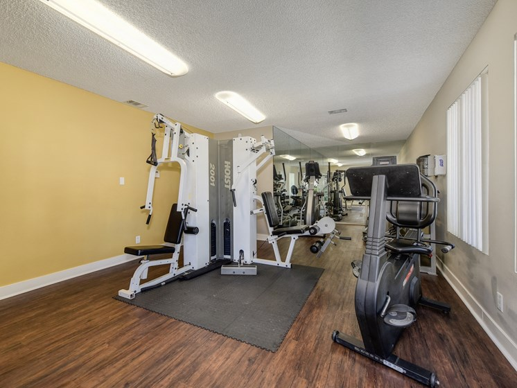 Luxury Apartment Community Fitness Center with Weight and Cardio Machines