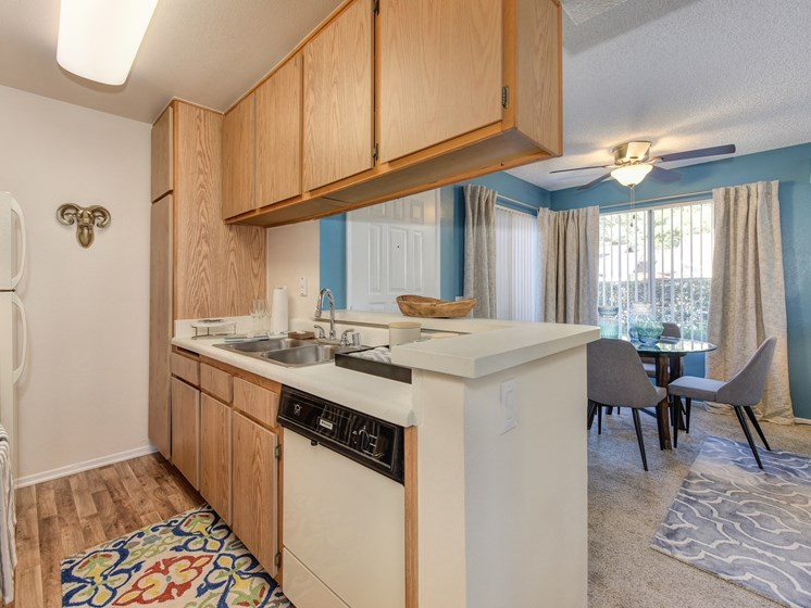 Luxury Apartment Community Kitchen with Dishwasher and Wood Cabinets