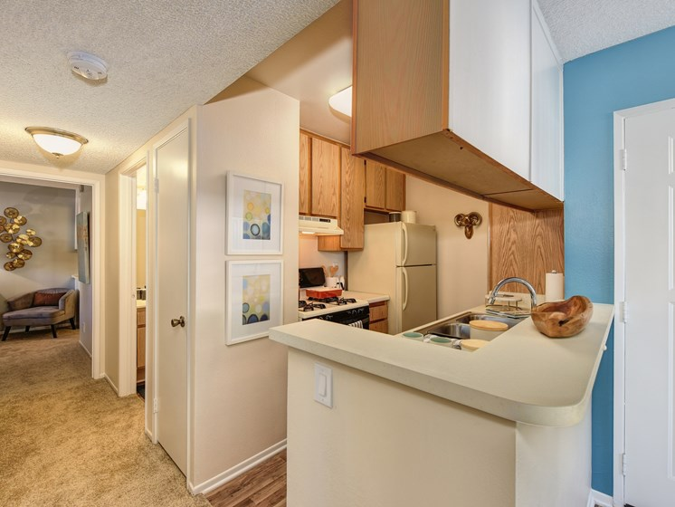 Luxury Apartment Community Kitchen with View of Hallway