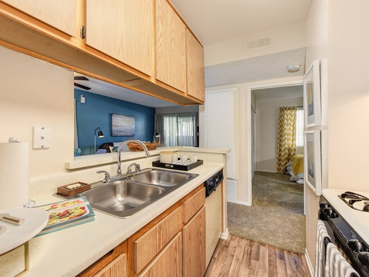 Luxury Apartment Community Kitchen with Wood Cabinetry and Modern Appliances