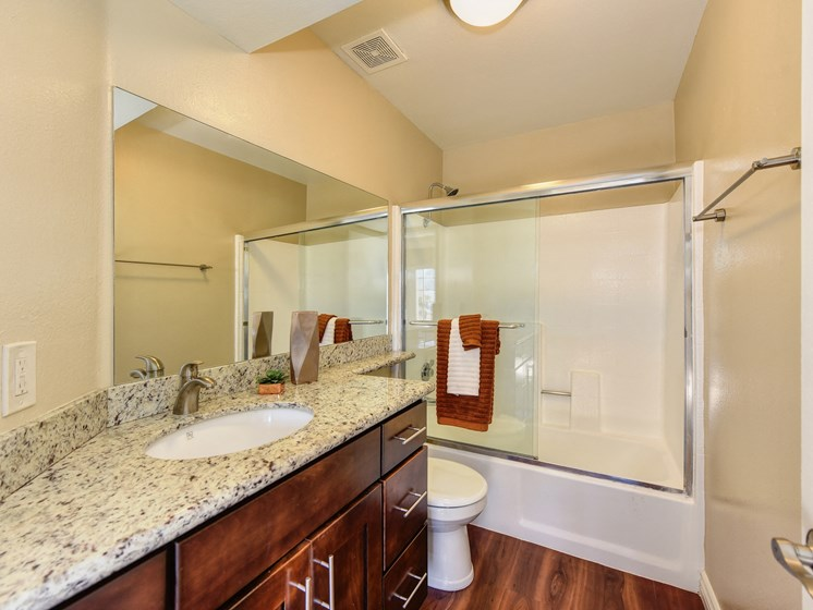 Luxury Apartment Community Bathroom with Designer Countertops