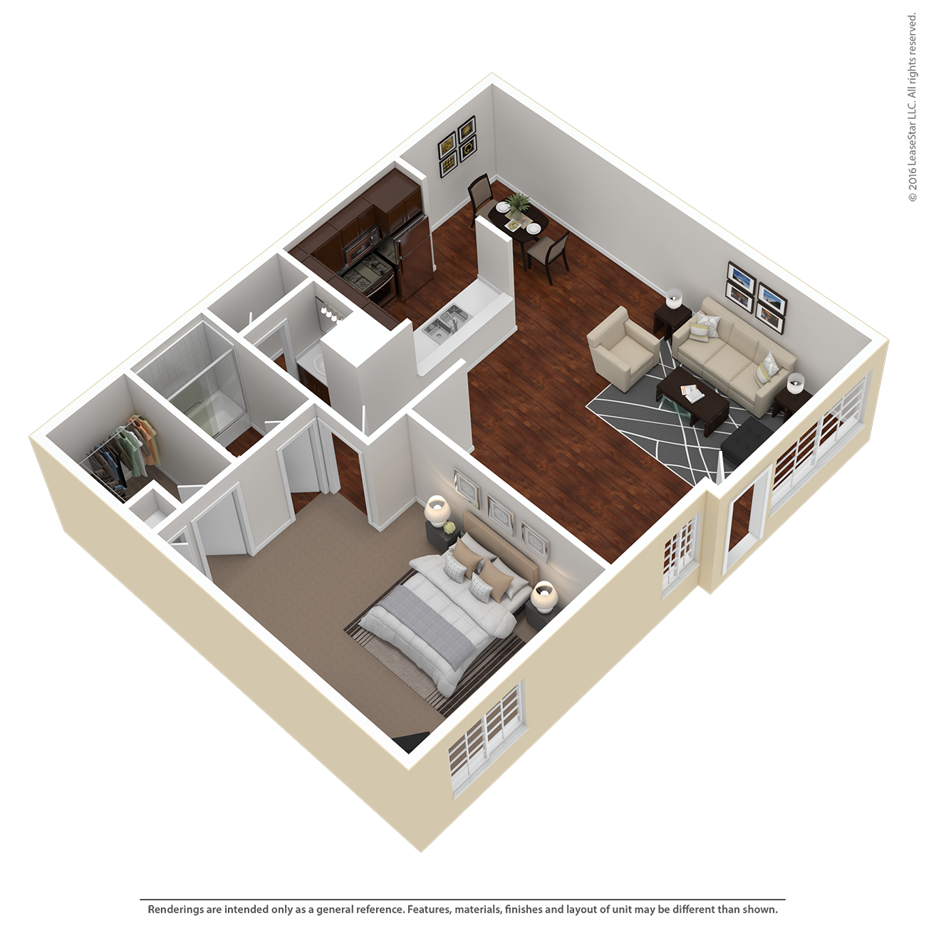 1 Bed 1 Bath Plan B Floor Plan 1