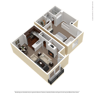1 Bed 1.5 Bath Townhouse Plan C