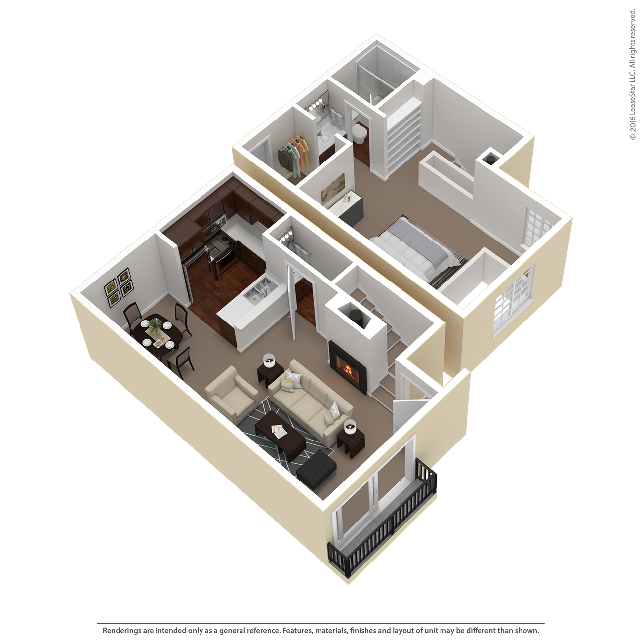 1 Bed 1.5 Bath Townhouse Plan C Floor Plan 2