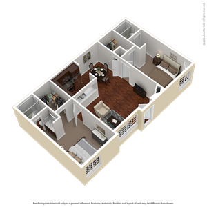 2 Bed 2 Bath Plan D