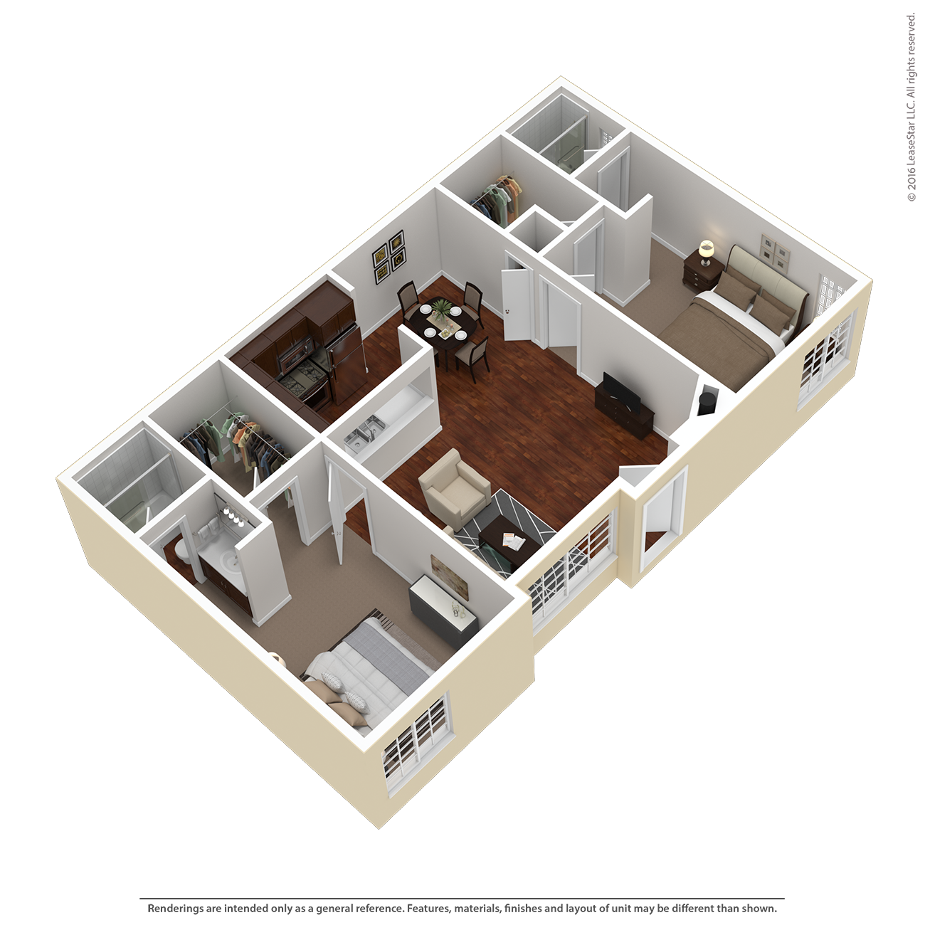 2 Bed 2 Bath Plan D Floor Plan 5