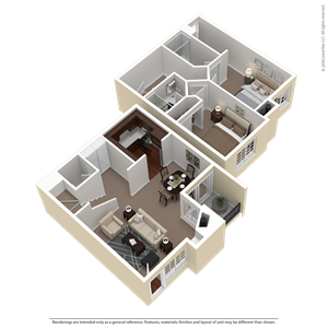 2 Bed 2.5 Bath Townhouse Plan E