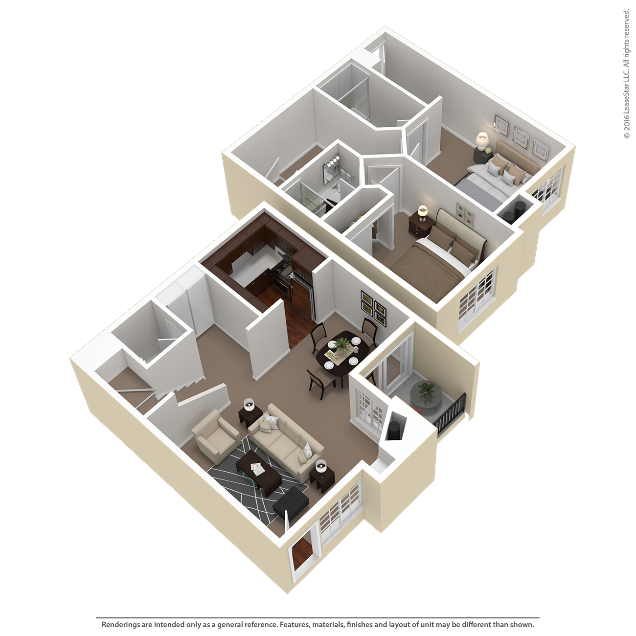 2 Bed 2.5 Bath Townhouse Plan E Floor Plan 4