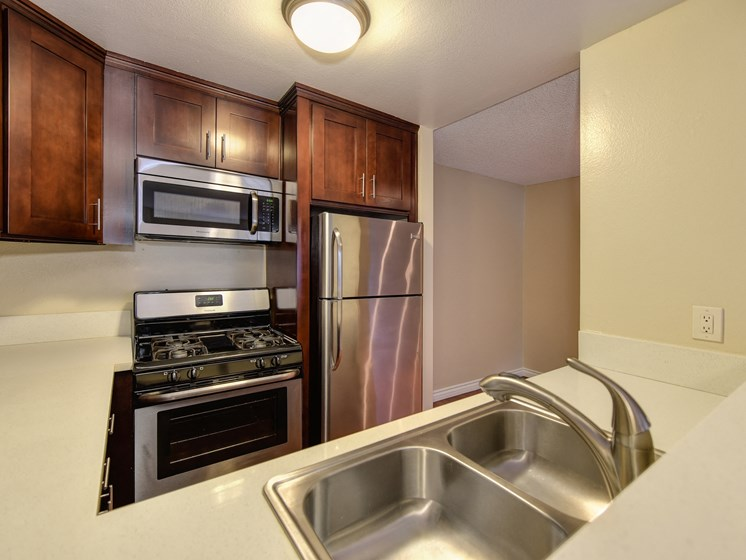 Luxury Apartment Community Kitchen with Stainless Steel Appliances and Dual Sinks Wood Cabinets