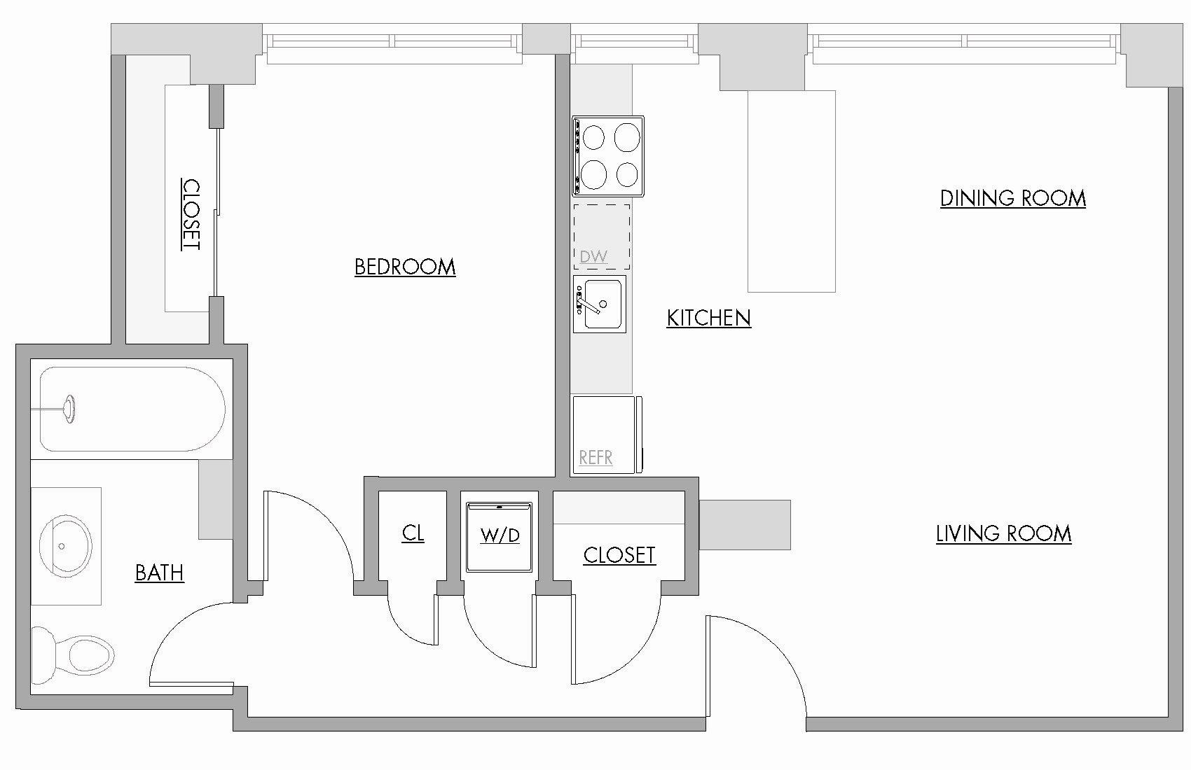 One Bedroom C Floor Plan 6