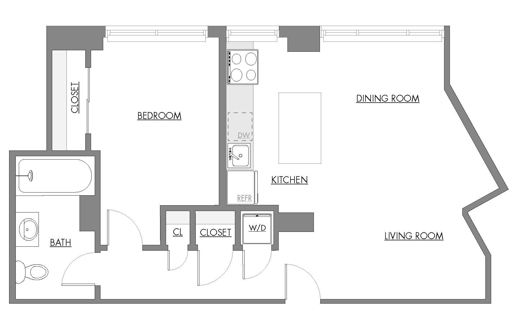 One Bedroom D Floor Plan 7