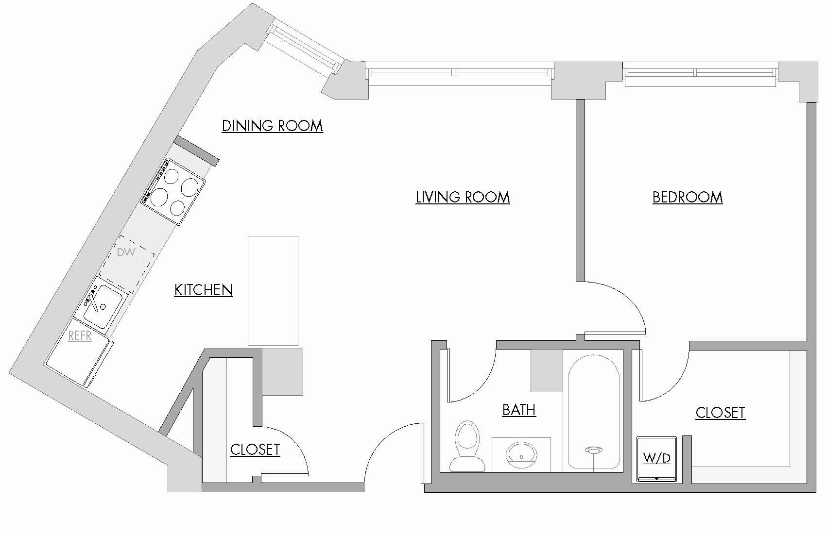 One Bedroom F Floor Plan 9