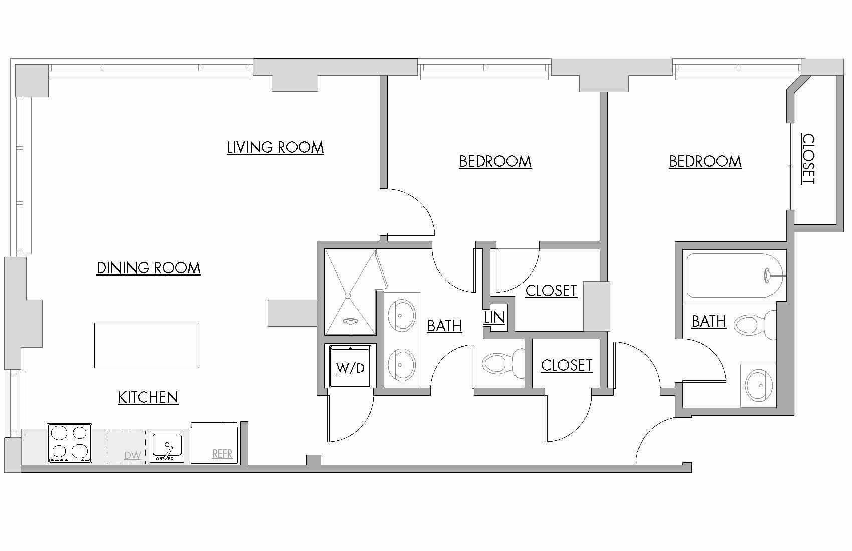 Two Bedroom Floor Plan 11