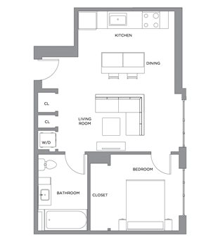 Madison One Bedroom Penthouse D