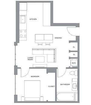 Madison One Bedroom Penthouse E