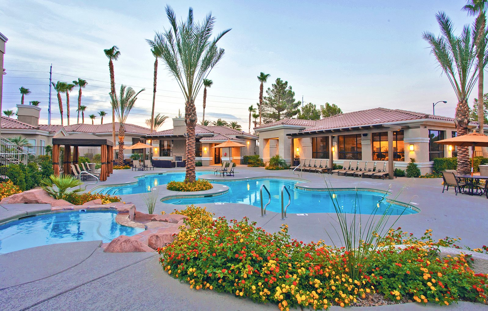 Pool Area with Lounge Seating at West Las Vegas Apartment Rentals