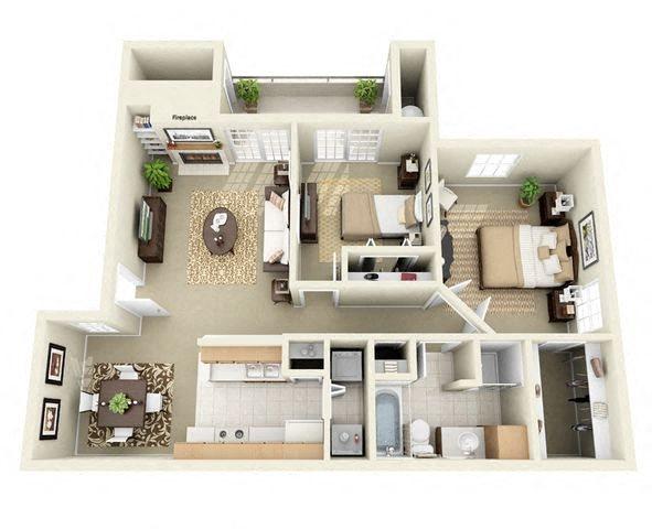 Edgewood 2 Bedroom 2 Bathroom Floor Plan