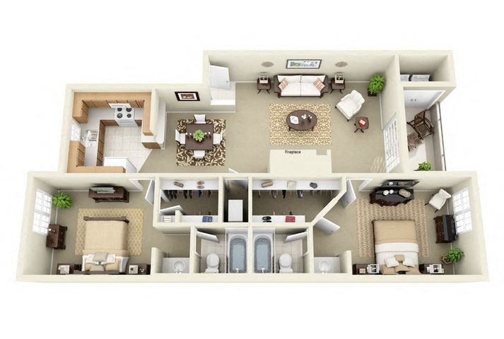 Sweetwater 2 Bedroom 2 Bathroom Floor Plan