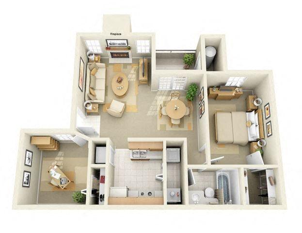 Briargrove 2 Bedroom 1 Bathroom Floor Plan