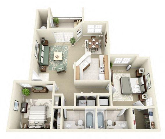 Crescent 2 Bedroom 2 Bathroom Floor Plan