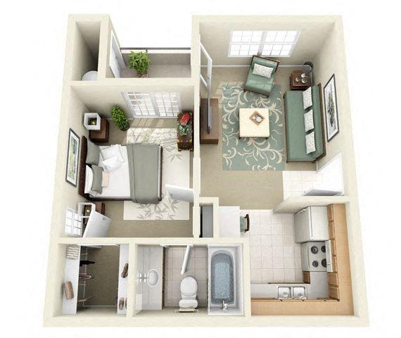 Greenway Floor Plan 1 Bedroom 1 Bathroom
