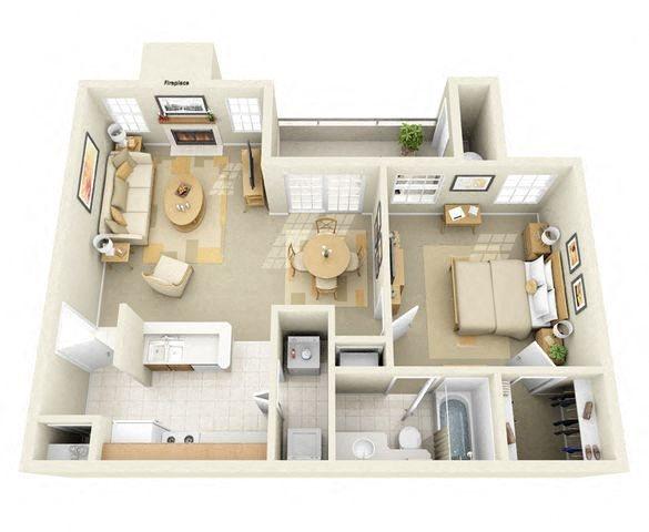 Memorial 1 Bedroom 1 Bathroom Floor Plan