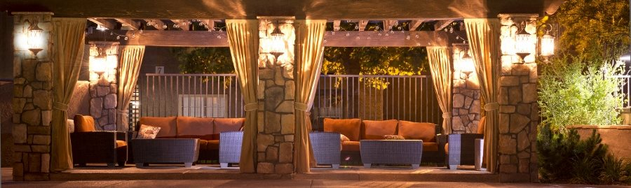 Poolside Cabana at Night